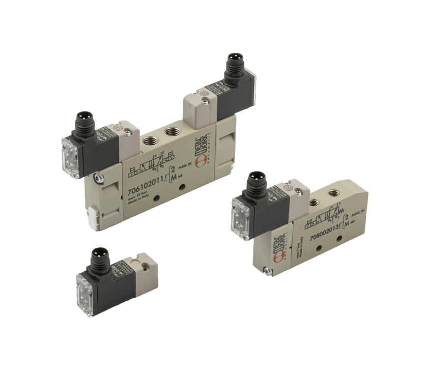 10 mm Series PLT-10, Mach 11 and Minimach solenoid valves with M8 electrical connection
